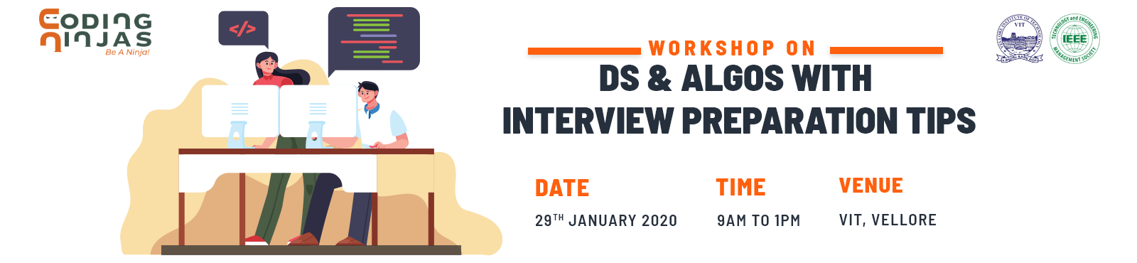 Workshop on Data Structures and Algorithms with Interview Preparation Tips at VIT Vellore